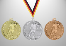 100 Fußball Soccer Medaillen Ø 50mm Farbe nach Wahl, mit Halsband & Beschriftung