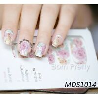 14pcs/ Sheet Floral Nail Wraps Pink Roses Nail Art Full Stickers Foil MDS1014