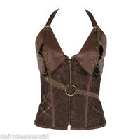 Woman Brown Bustiers and Corsets Training Brocade Steampunk Corset Top Corselet