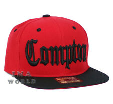 COMPTON hat 3D embroidered Snapback Baseball cap Flat Hiphop Bill - Red/Black