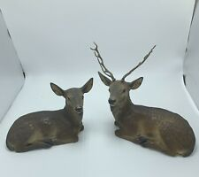 Antique Terracotta Male And Female Deer