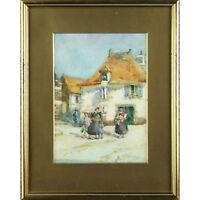 Framed Original Dutch Flower Seller Watercolour Landscape Painting Signed Seugal