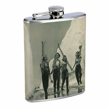 Vintage Skiing Skier Skis D18 Flask 8oz Stainless Steel Hip Drinking Whiskey B&W