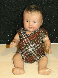 """Antique 1930s composition adorable baby doll unmarked 12"""" Painted Face LOVELY"""