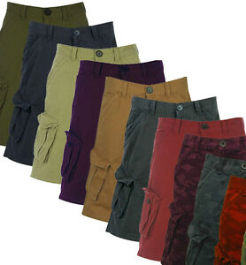 BNWT FIRETRAP Mens Coloured Denim Combat Shorts S-XL Cargo Black/Red Designer