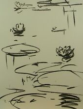 JOSE TRUJILLO MODERN MINIMALIST CHARCOAL DRAWING ORIGINAL WATERLILIES POND ART