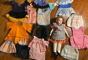 "Antique Bisque Head MIGNONETTE DOLL, 8"" marked P 10/0 large lot of clothes"