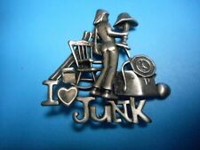 / brooch Pewter Wow 2 Inches High New listing Wow beautiful I Love Junk pin