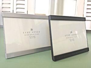 Fotorahmen 10x15cm Moderner Metallrahmen Schwarz/ Silber stehend Bilderrahmen