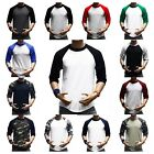 Mens T- Shirt Baseball 3/4 Raglan Crew Neck Sports Casual Plain Solid Blank Tee