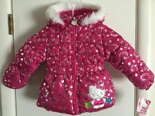 HELLO KITTY Infant/Toddler Girl's Hot Pink Hooded Puffer Jacket~~Size 2T