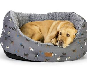 "FAT FACE DELUXE SLUMBER BED - (18"" - 40"") - Marching Dogs Design dd PawMits Dog"