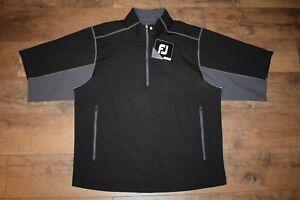 FootJoy Sport SS Windshirt Golf 1/2 Zip Pullover Size M (Black W/Charcoal) NWT