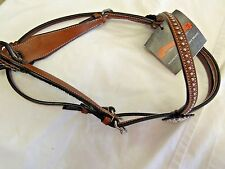 CIRCLE Y LEATHER HEADSTALL WITH COWHIDE--NEW WITH TAGS