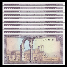 Lot 10 PCS, Lebanon 10 Livra, 1986, P-63, UNC