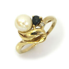 White Freshwater Pearl & Diamond, Sapphire Solid 14k Yellow Gold Engagement Ring