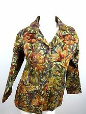 GARDEN GEAR WOMENS MULTI-COLOR TAPESTRY COTTON POLYESTER BLAZER JACKET SIZE S