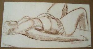 FEMALE FIGURE SLEEPING by Ruth Freeman CONTE CRAYON  10 3/4  X  21