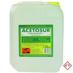 Acetosur Essig Säure 80 Prozent hohe Spitzenqualität Kanister 10 Liter