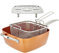 4PCS Non Stick Copper Deep Frying Cooking Pan Lid Chips Fries Basket Multi Eggs