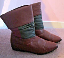 """Danex """"Flapper"""" Soft Bk/Brown Leather 3/4"""" Heel Pull Up Ankle Boots 8M Vguc"""