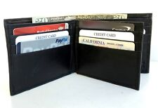 BLACK MEN'S LEATHER 12 Card ID Bifold Wallet Center Flap Thin Front Pocket