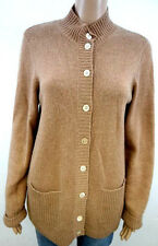 "#4261 ORVIS 100% CASHMERE LIGHT BROWN CARDIGAN SWEATER WOMENS SMALL 38"" BUST"