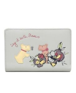 Radley Say It With Flowers Pale Grey Leather Bifold Purse Wallet Medium