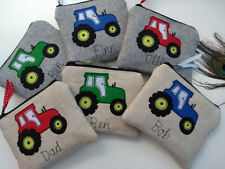 Personalised Tractor Coin Card Wallet Purse Grey or Linen Word Colour Choice