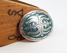 Vintage Navajo Sterling Silver & turquoise Inlay Belt Buckle HMIJ - 52gr PX3763
