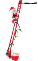 MR CHRISTMAS STEPPING SANTA CLIMBS LADDER PLAYS 15 CAROLS  USE ON TREE