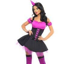 SULTRY PINK WICKED WITCH FANCY DRESS & HAT costume SEXY OUTFIT HALLOWEEN *LOOK*