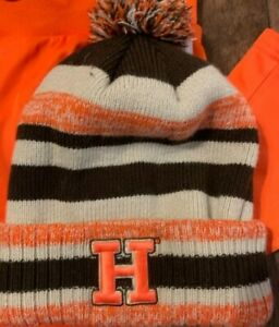HOOTERS MENS CUFFED KNIT BEANIE HAT W/Pom IN ORANGE AND BROWN NEW