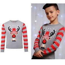 Kids Reindeer Christmas Long Sleeve Jumper - Stripy Arms in Grey Marl
