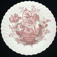 Royal Staffordshire Soup Salad Bowl Charlotte Clarice Cliff Red Pink England VTG
