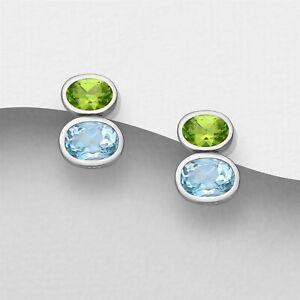 925 Sterling Silver Genuine 3.20 Carat Topaz Peridot Stud Earrings Women Girls