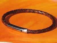 Mens /ladies 4mm Antique Brown leather & stainless steel bracelet - Lyme Bay Art