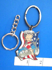 "BETTY  BOOP   "" Biker Betty with Flag "" - keychain  key chain GIFT BOXED"