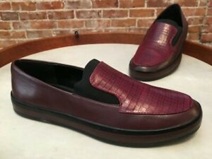 H by Halston Merlot Red Leather Croc Embossed Slip on Ryleigh Loafer 7.5 NEW