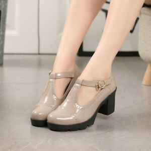 Womens College Round Toe T-Strap Buckle Pumps Office Platforms Oxford Shoes Size