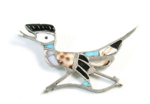 Vintage Native American Zuni Inlay Roadrunner Pin Inlaid Turquoise Carved Onyx