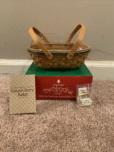 New Longaberger Tree Trimming Nature's Berry Basket Green Protector & Tie On