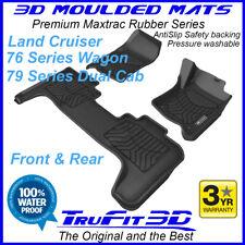 Fit Toyota Land Cruiser 76 79 Series 3D Maxtrac F & R Black Rubber Floor Mats