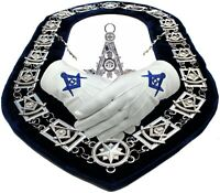 Masonic PAST MASTER SILVER Chain Collar BLUE Backing + JEWEL + GLOVES