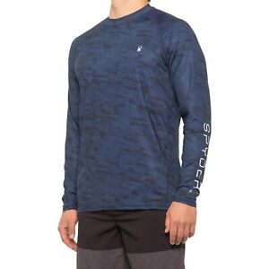 Men's Spyder Swim Digital Camo Rash Guard L/S Tee T Shirt Blue Size Large L