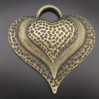 11pcs Antique Style Bronze Tone Alloy Heart Love Pendant Charms 34mm
