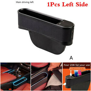 Left Car Seat Seam Storage Box With Atmosphere Lamp 4 USB Interior Accessories