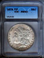 1878-P - 7tf Morgan Silver $1  VAM 83 - ICG MS63 - NICE TONING- LOOKS BETTER -