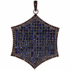 Silver Vintage Style Pendants Jewelry 2.09Cts Rose Cut Diamond Sapphire Studded
