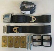 "Chrome Lift Lid Seat Belts Set(2) + Retrofit Mtg Kit + Retractors: Black, 60"""